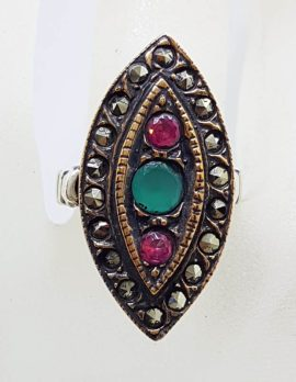 Sterling Silver Red with Green and Marcasite Canoe / Marquis Shape Ring