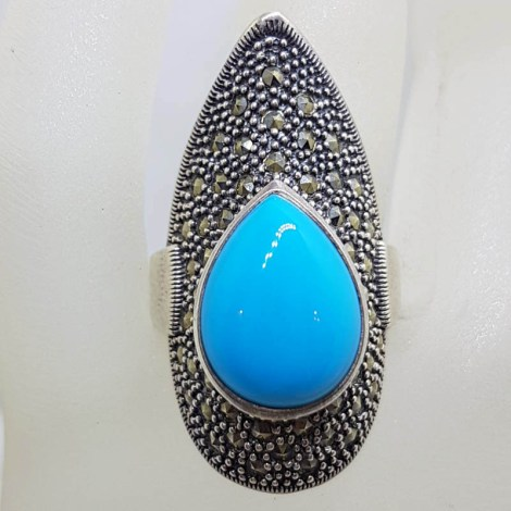 Sterling Silver Marcasite Long Teardrop / Pear Shape Blue Recon. Turquoise Ring