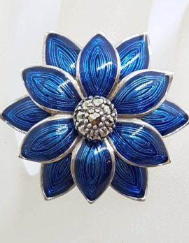 Sterling Silver Marcasite Large Blue Enamel Daisy Flower Ring