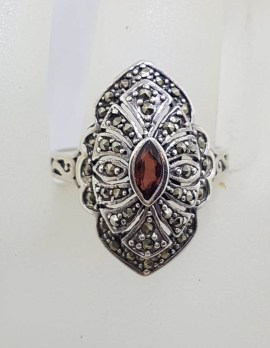 Sterling Silver Marcasite and Garnet Marquis Shape Cluster Ring