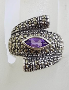 Sterling Silver Chunky 1 Marquis 2 Round Amethyst with Marcasite Ring