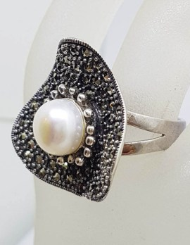 Sterling Silver Marcasite and Pearl Large Stylised Unusual Wavy Triangle Shape Ring