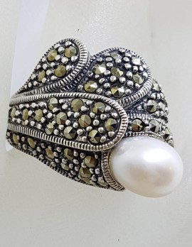 Sterling Silver Marcasite and Pearl Large Stylised Unusual Shape Ring