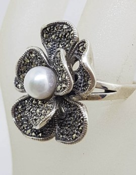 Sterling Silver Marcasite and Pearl Large Stylised / Detailed Flower Ring