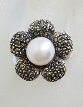 Sterling Silver Marcasite and Pearl Flower Ring