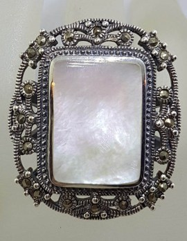 Sterling Silver Mother of Pearl & Marcasite Very Large Ornate Rectangular Cluster Ring