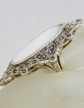 Sterling Silver Mother of Pearl & Marcasite Very Large Ornate Oval in Marquis Cluster Ring