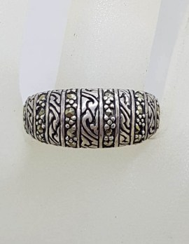 Sterling Silver Patterned Band Marcasite Ring