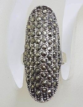 Sterling Silver Long Thin Elongated Oval Marcasite Ring - Domed