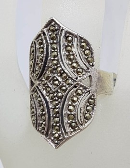 Sterling Silver Large Ornate Shape Marcasite Ring