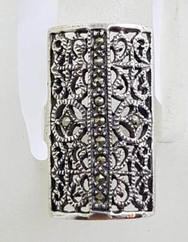 Sterling Silver Large Filigree Ornate Rectangular Marcasite Ring