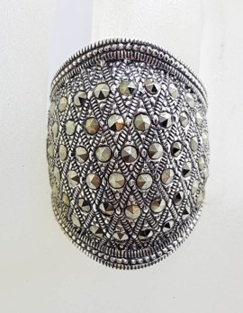 Sterling Silver Very Large and Bulky Domed Marcasite Ring