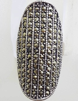 Sterling Silver Long Elongated Oval Marcasite Ring - Domed