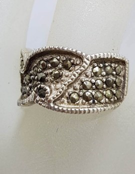 Sterling Silver Wide Unusual Marcasite Band Ring