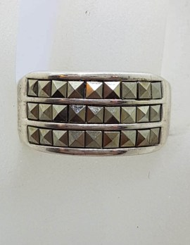 Sterling Silver Wide Square Marcasites Band Ring