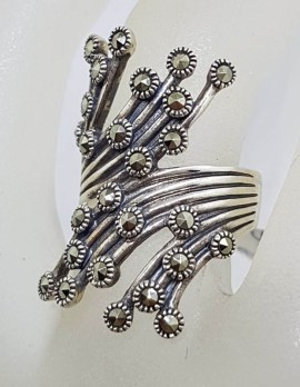 Sterling Silver Wide Marcasite Twisted Spray Ring