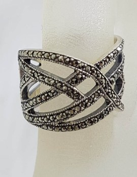 Sterling Silver Marcasite Wide Woven Twist Band Ring