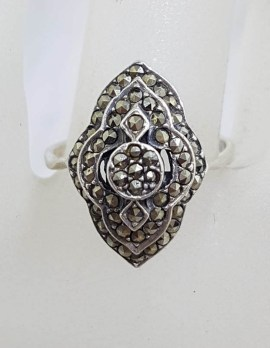 Sterling Silver Marcasite Marquis Shape Art Deco Style Cluster Ring
