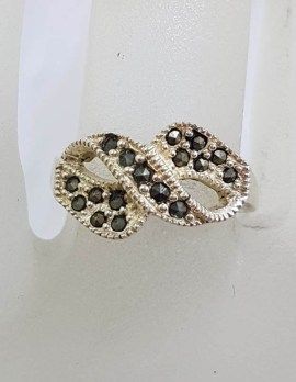 Sterling Silver Marcasite Twist Ring