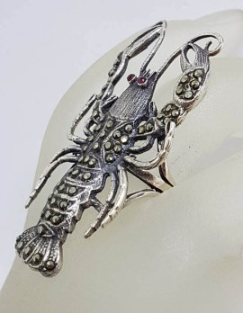 Sterling Silver Marcasite with Red Eyes Very Large Lobster / Crayfish Ring