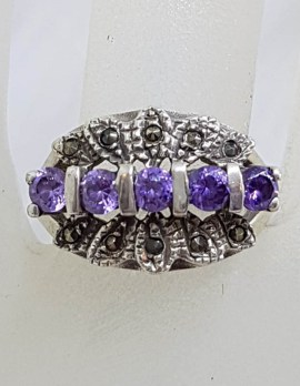Sterling Silver Vintage Marcasite and Purple Cluster Ring
