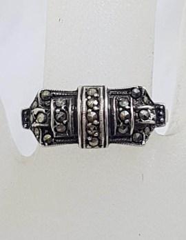 Sterling Silver Vintage Marcasite Art Deco Shape Ring