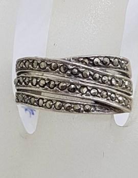 Sterling Silver Vintage Marcasite Wide Crossover Design Band Ring