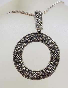 Sterling Silver Marcasite Large Round Circle of Life Pendant on Sterling Silver Chain