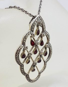 Sterling Silver Marcasite Large Open Design Pendant with Red Enamel Droplets Pendant on Silver Chain
