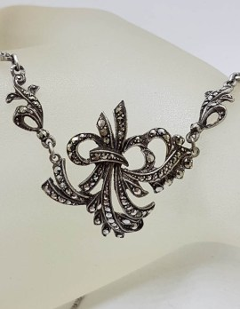Sterling Silver Vintage Marcasite Ornate Design Collier Necklace / Chain