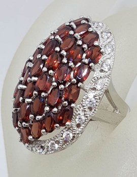 Sterling Silver Garnet and Cubic Zirconia Very Large Oval Cluster Ring