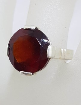 Sterling Silver Large Round Claw Set Garnet Ring