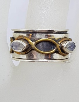 Sterling Silver Twist Design with Moonstone Fidget / Spinner Ring