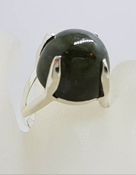Sterling Silver Large and High Claw Set Nephrite Jade Ring