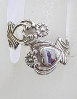 Sterling Silver Ornate Floral Design Ring - Vintage