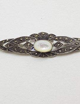 Sterling Silver Marcasite and Mother of Pearl Ornate Bar Brooch