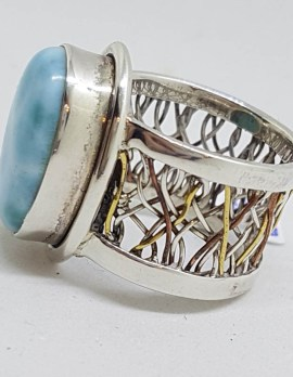 Sterling Silver and Plated Weaved Plaited Design Wide Band Oval Larimar Ring