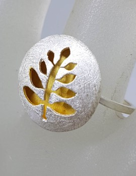 Sterling Silver and Plated Matte Finish Leaf / Tree of Life Round Ring