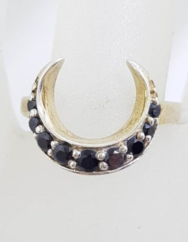 Sterling Silver Onyx Crescent Moon Shape Ring