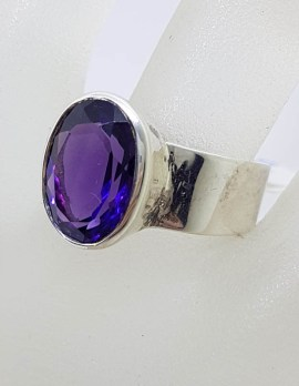Sterling Silver Large Oval Amethyst in Wide Band Ring