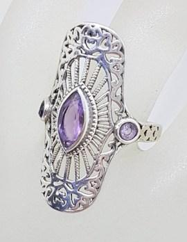 Sterling Silver Large Ornate Filigree Elongated Setting Amethyst Ring