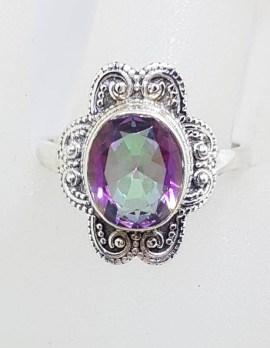 Sterling Silver Oval Mystic Quartz / Topaz with Ornate Design Ring