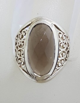 Sterling Silver Oval Smokey Quartz with Ornate Filigree Setting Wide Ring