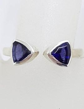 Sterling Silver Triangular Bezel Set Iolite Open Band Ring