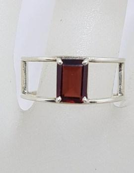 Sterling Silver Wide Rectangular Garnet Open Band Ring
