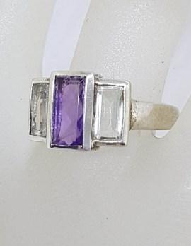 Sterling Silver Rectangular Amethyst with Green Amethyst / Prasiolite Ring