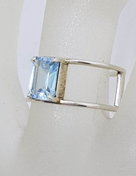 Sterling Silver Wide Rectangular Topaz Open Band Ring