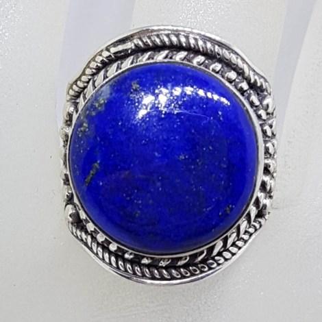 Sterling Silver Bezel Set Large Roun Lapis Lazuli with Ornate Patterned Design Ring