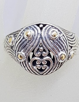 Sterling Silver and 18ct Yellow Gold Chunky Ornate Filigree Design Gents Ring / Ladies Ring