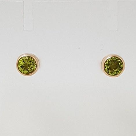 9ct Rose Gold Round Bezel Set Peridot Studs / Earrings